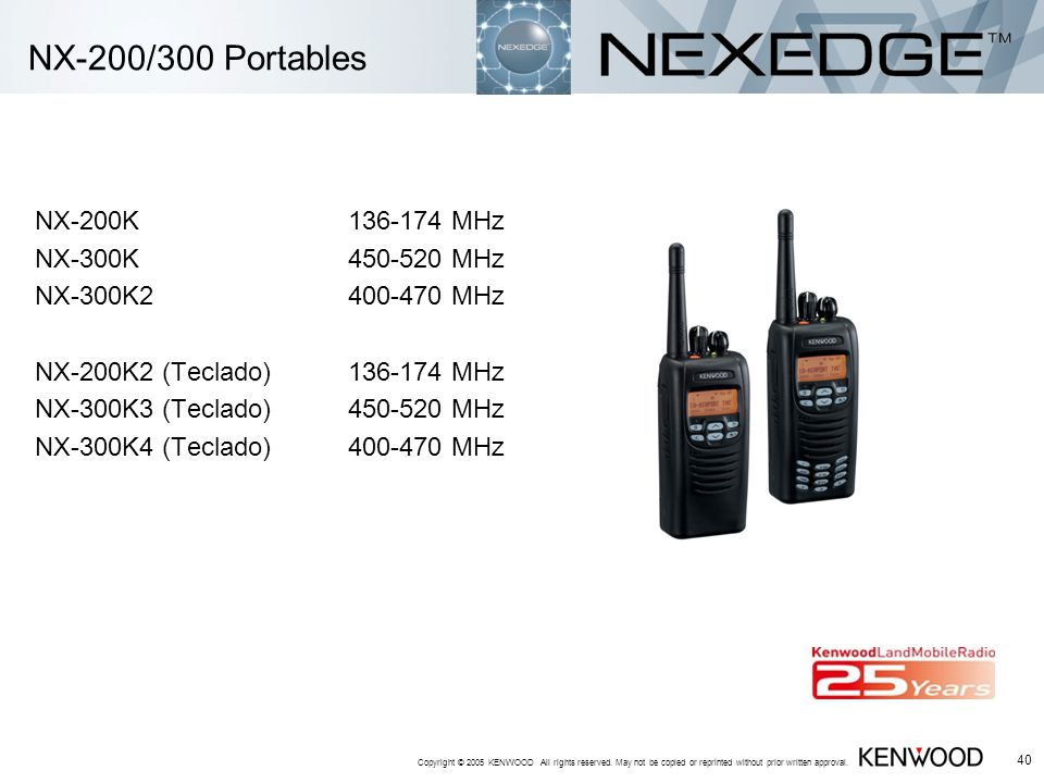 Copyright © 2005 KENWOOD All rights reserved. May not be copied or reprinted without prior written approval. 40 NX-200/300 Portables NX-200K136-174 MH