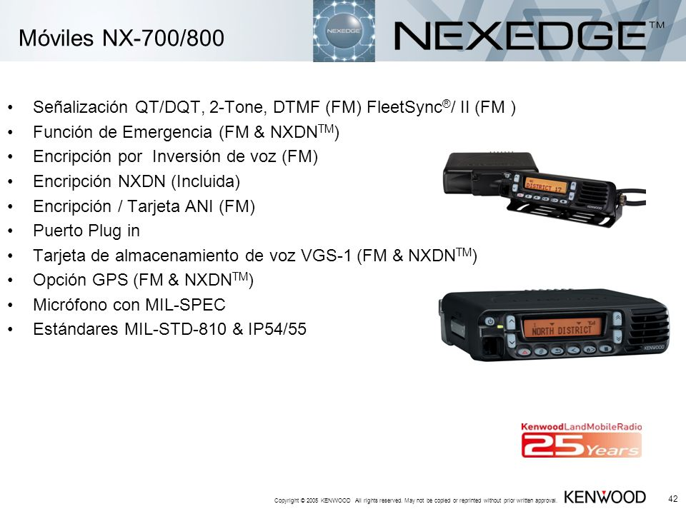 Copyright © 2005 KENWOOD All rights reserved. May not be copied or reprinted without prior written approval. 42 Móviles NX-700/800 Señalización QT/DQT