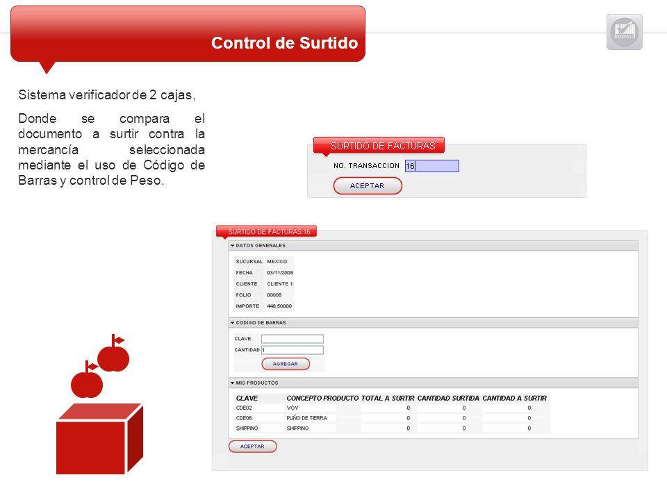 Sistema verificador de 2 cajas, Donde se compara el documento a surtir contra la mercancía seleccionada mediante el uso de Código de Barras y control