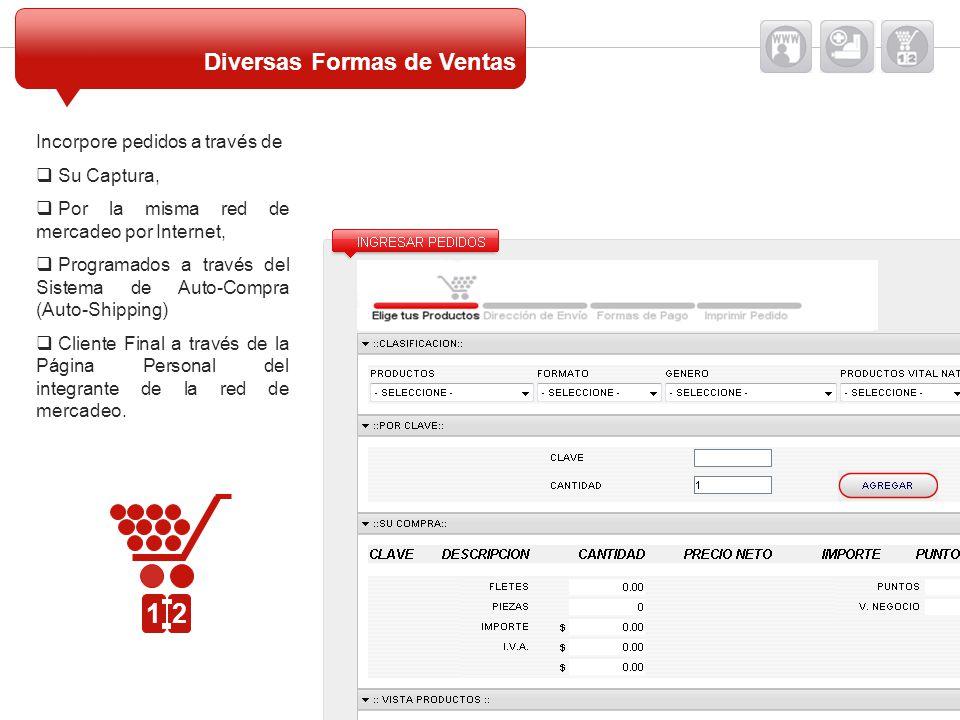 Incorpore pedidos a través de Su Captura, Por la misma red de mercadeo por Internet, Programados a través del Sistema de Auto-Compra (Auto-Shipping) C