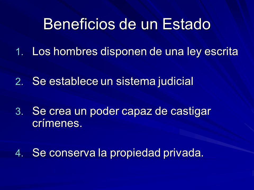 Beneficios de un Estado 1. Los hombres disponen de una ley escrita 2. Se establece un sistema judicial 3. Se crea un poder capaz de castigar crímenes.