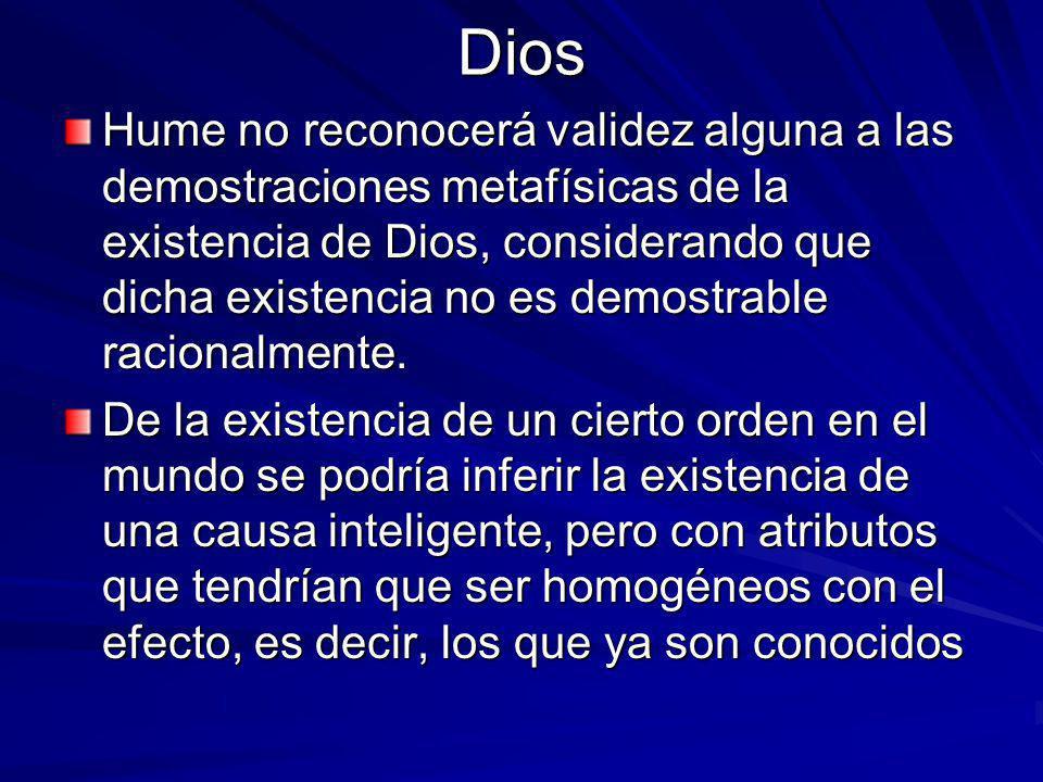 Dios Hume no reconocerá validez alguna a las demostraciones metafísicas de la existencia de Dios, considerando que dicha existencia no es demostrable