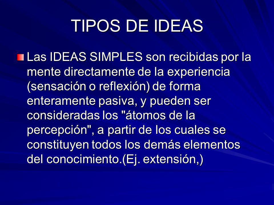 TIPOS DE IDEAS Las IDEAS SIMPLES son recibidas por la mente directamente de la experiencia (sensación o reflexión) de forma enteramente pasiva, y pued