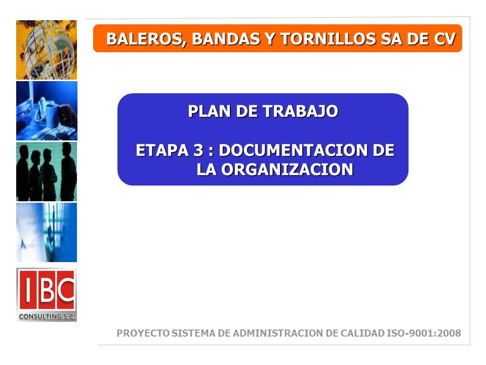 BALEROS, BANDAS Y TORNILLOS SA DE CV PLAN DE TRABAJO ETAPA 3 : DOCUMENTACION DE LA ORGANIZACION ETAPA 3 : DOCUMENTACION DE LA ORGANIZACION PROYECTO SISTEMA DE ADMINISTRACION DE CALIDAD ISO-9001:2008