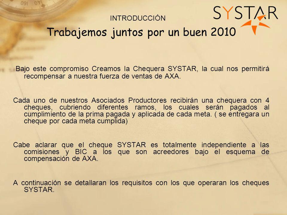 INTRODUCCIÓN Trabajemos juntos por un buen 2010 Bajo este compromiso Creamos la Chequera SYSTAR, la cual nos permitirá recompensar a nuestra fuerza de ventas de AXA.