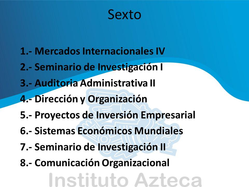 Sexto 1.- Mercados Internacionales IV 2.- Seminario de Investigación I 3.- Auditoria Administrativa II 4.- Dirección y Organización 5.- Proyectos de I