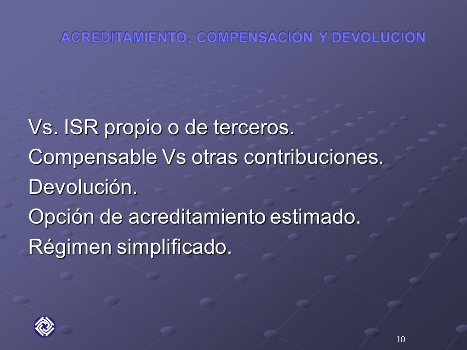 Vs. ISR propio o de terceros. Compensable Vs otras contribuciones.