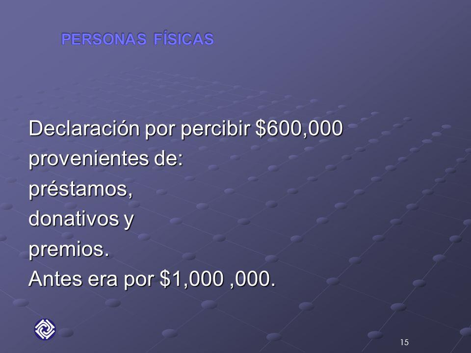 Declaración por percibir $600,000 provenientes de: préstamos, donativos y premios.