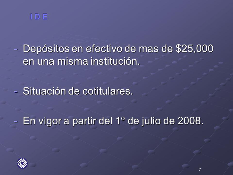 -Depósitos en efectivo de mas de $25,000 en una misma institución.