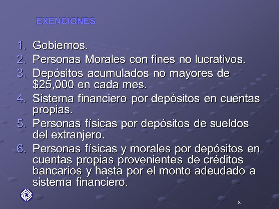 1.Gobiernos. 2.Personas Morales con fines no lucrativos.