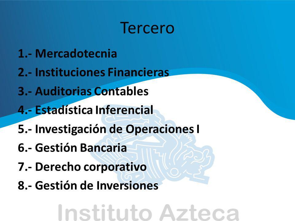 Tercero 1.- Mercadotecnia 2.- Instituciones Financieras 3.- Auditorias Contables 4.- Estadística Inferencial 5.- Investigación de Operaciones I 6.- Ge