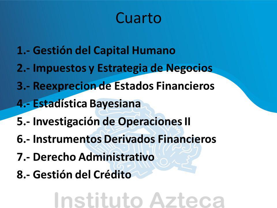 Cuarto 1.- Gestión del Capital Humano 2.- Impuestos y Estrategia de Negocios 3.- Reexprecion de Estados Financieros 4.- Estadística Bayesiana 5.- Inve