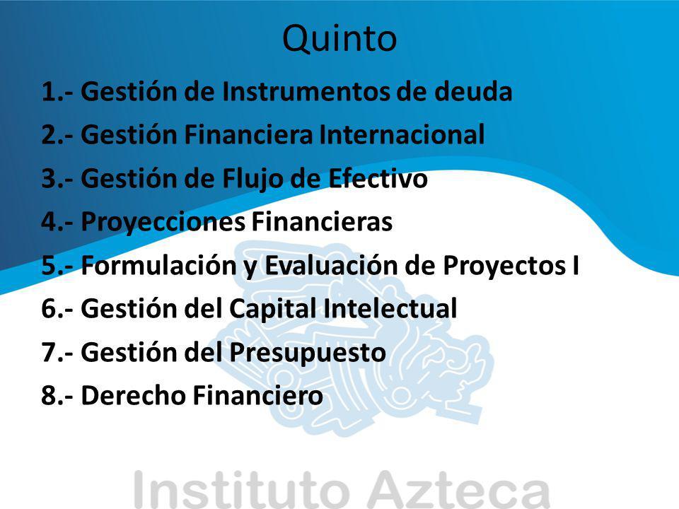 Sexto 1.- Control y Retroalimentación 2.- Formulación y Evaluación de Proyectos II 3.- Problemas Actuales de México 4.- Gestión de Inversiones 5.- Auditorias Administrativas 6.- Gestión de Información Financiera 7.- Derecho Informático