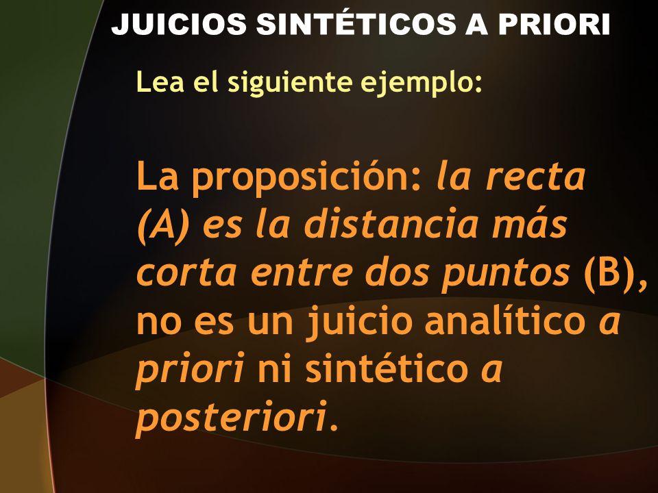 JUICIOS SINTÉTICOS A PRIORI Lea el siguiente ejemplo: La proposición: la recta (A) es la distancia más corta entre dos puntos (B), no es un juicio ana