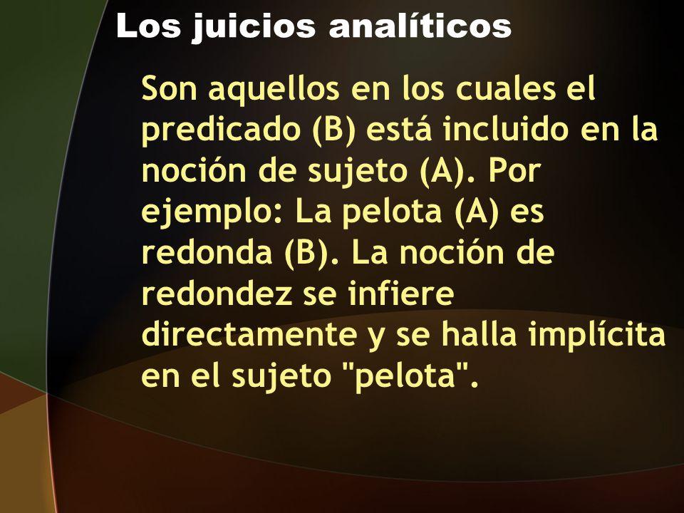Los juicios analíticos Son aquellos en los cuales el predicado (B) está incluido en la noción de sujeto (A). Por ejemplo: La pelota (A) es redonda (B)