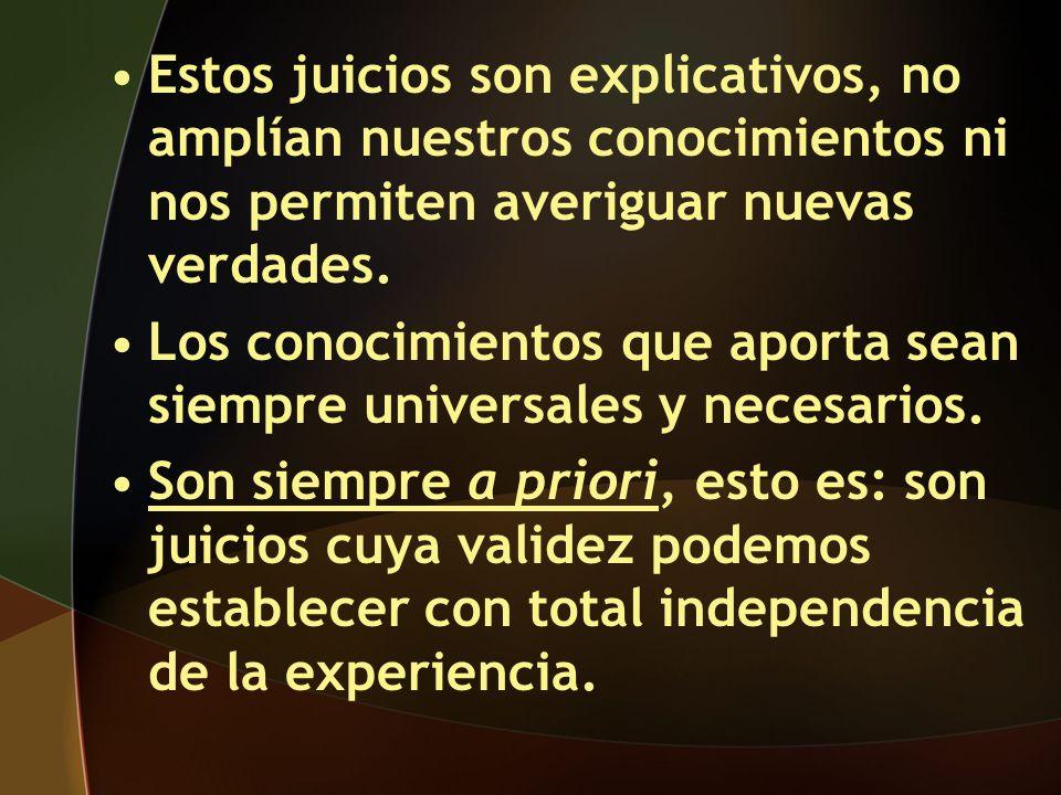 Tipos de juicios que admite Kant: Tipos de juicios AnalíticosSintéticos A priori Explicativos universales y necesarios Extensivos universales y necesarios A posteriori Extensivos contingentes y probables