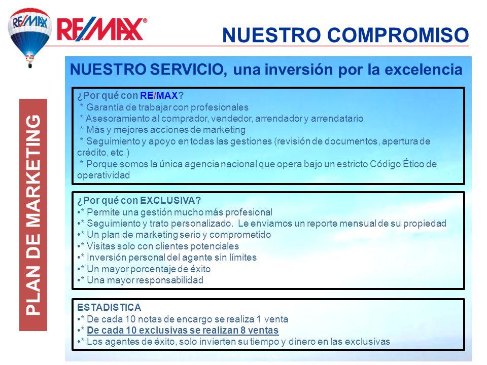 NUESTRO COMPROMISO NUESTRO SERVICIO, una inversión por la excelencia ¿Por qué con RE/MAX? * Garantía de trabajar con profesionales * Asesoramiento al