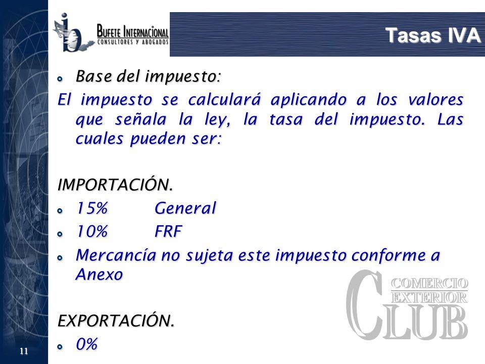 11 Tasas IVA Base del impuesto: Base del impuesto: El impuesto se calculará aplicando a los valores que señala la ley, la tasa del impuesto. Las cuale