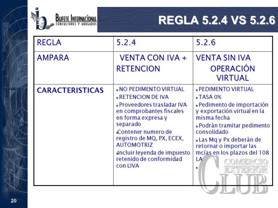 20 REGLA 5.2.4 VS 5.2.6 REGLA5.2.45.2.6 AMPARA VENTA CON IVA + RETENCION VENTA SIN IVA OPERACIÓN VIRTUAL CARACTERISTICAS NO PEDIMENTO VIRTUAL NO PEDIM