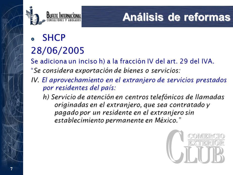 7 Análisis de reformas SHCP SHCP28/06/2005 Se adiciona un inciso h) a la fracción IV del art. 29 del IVA. Se considera exportación de bienes o servici