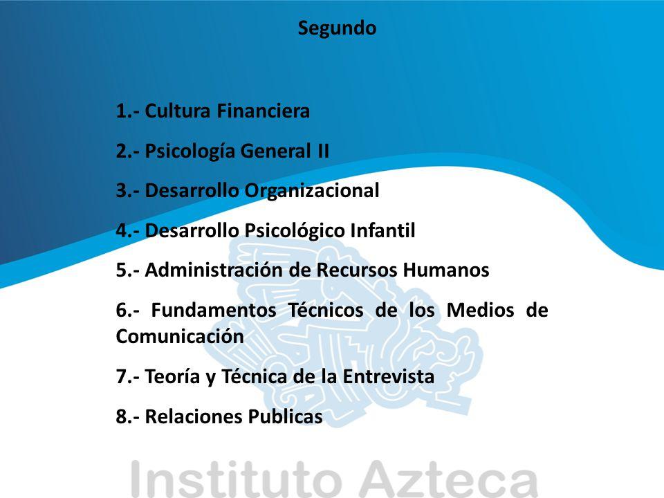 Segundo 1.- Cultura Financiera 2.- Psicología General II 3.- Desarrollo Organizacional 4.- Desarrollo Psicológico Infantil 5.- Administración de Recur
