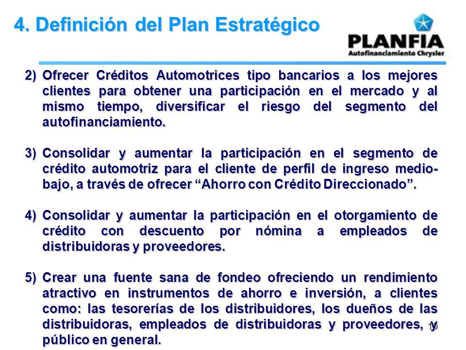 10 4. Definición del Plan Estratégico 2)Ofrecer Créditos Automotrices tipo bancarios a los mejores clientes para obtener una participación en el merca