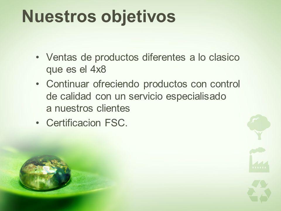 Nuestros objetivos Ventas de productos diferentes a lo clasico que es el 4x8 Continuar ofreciendo productos con control de calidad con un servicio especialisado a nuestros clientes Certificacion FSC.