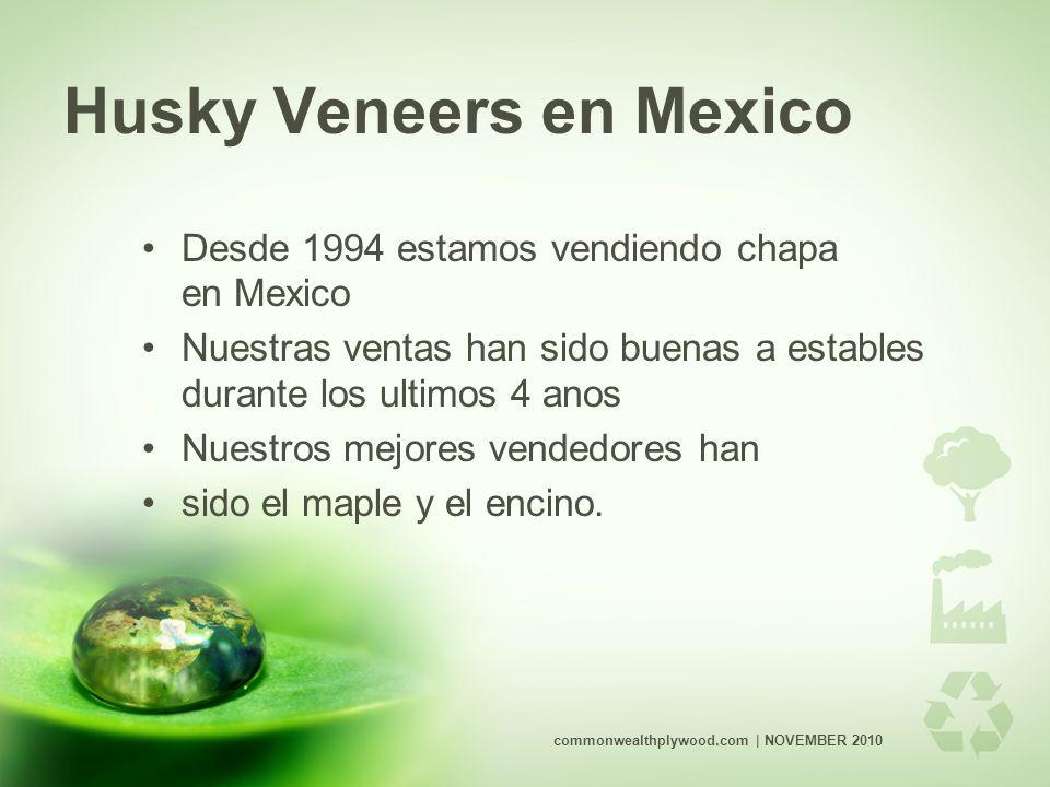 Husky Veneers en Mexico Desde 1994 estamos vendiendo chapa en Mexico Nuestras ventas han sido buenas a estables durante los ultimos 4 anos Nuestros mejores vendedores han sido el maple y el encino.