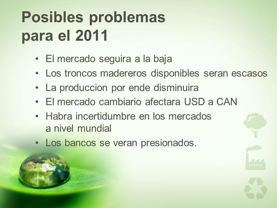 Posibles problemas para el 2011 El mercado seguira a la baja Los troncos madereros disponibles seran escasos La produccion por ende disminuira El merc