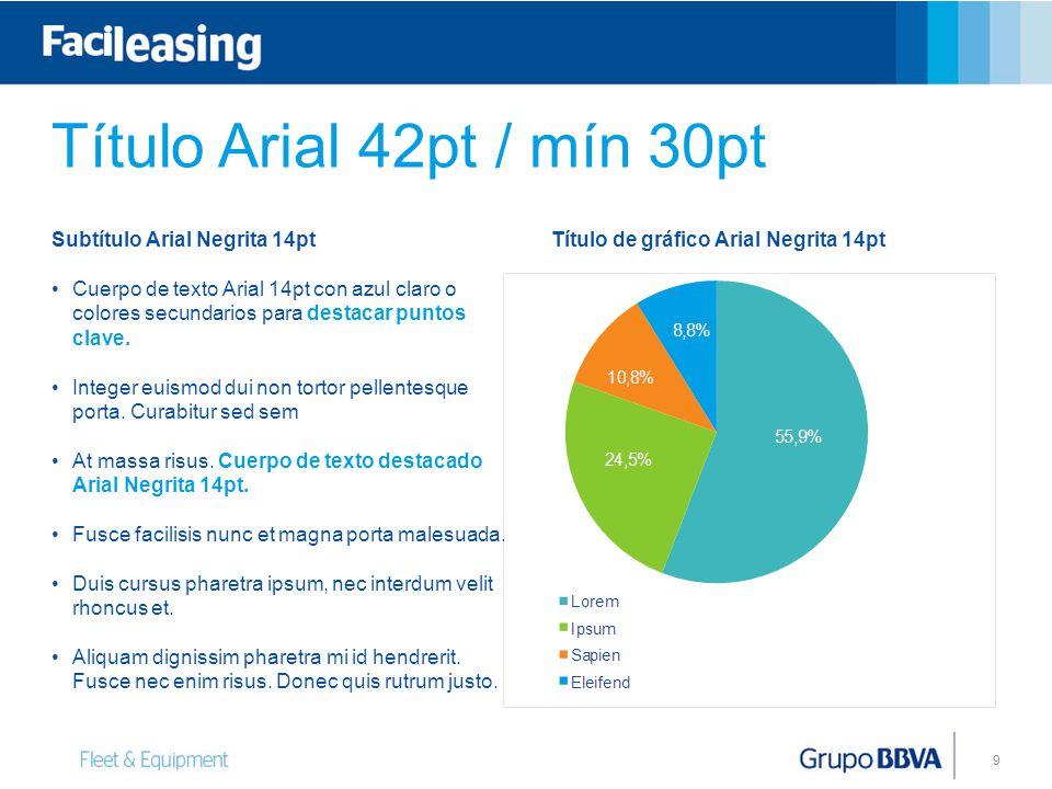 9 Título de gráfico Arial Negrita 14ptSubtítulo Arial Negrita 14pt Cuerpo de texto Arial 14pt con azul claro o colores secundarios para destacar punto