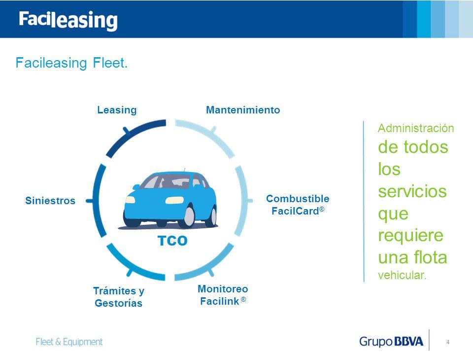4 Leasing Siniestros Mantenimiento Trámites y Gestorías Combustible FacilCard ® Monitoreo Facilink ® TCO Administración de todos los servicios que req