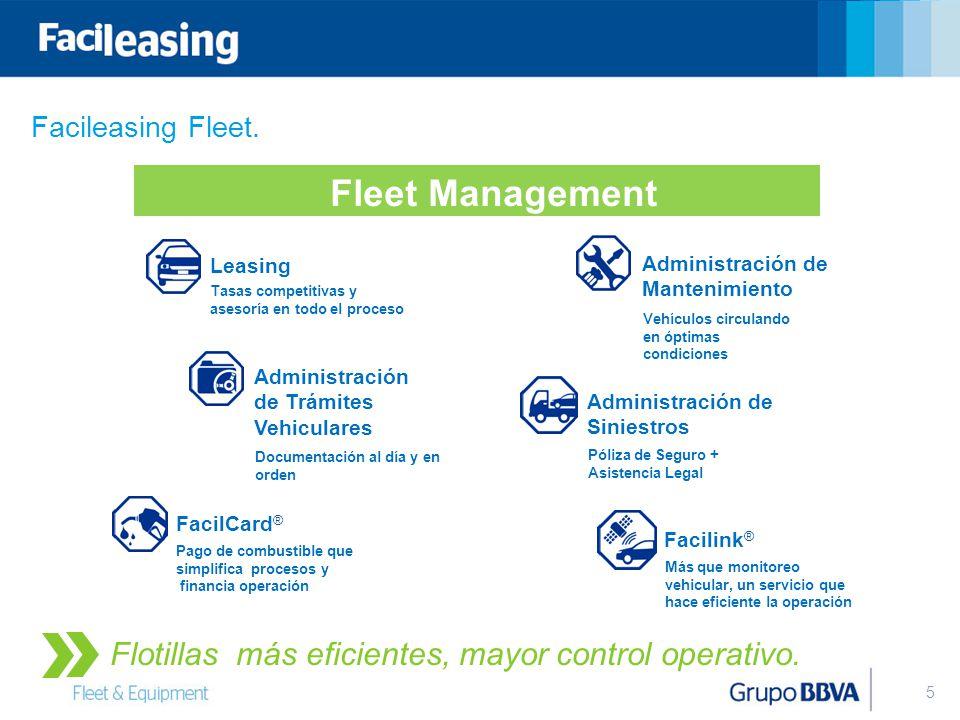 5 Leasing Tasas competitivas y asesoría en todo el proceso Administración de Mantenimiento Vehículos circulando en óptimas condiciones Administración