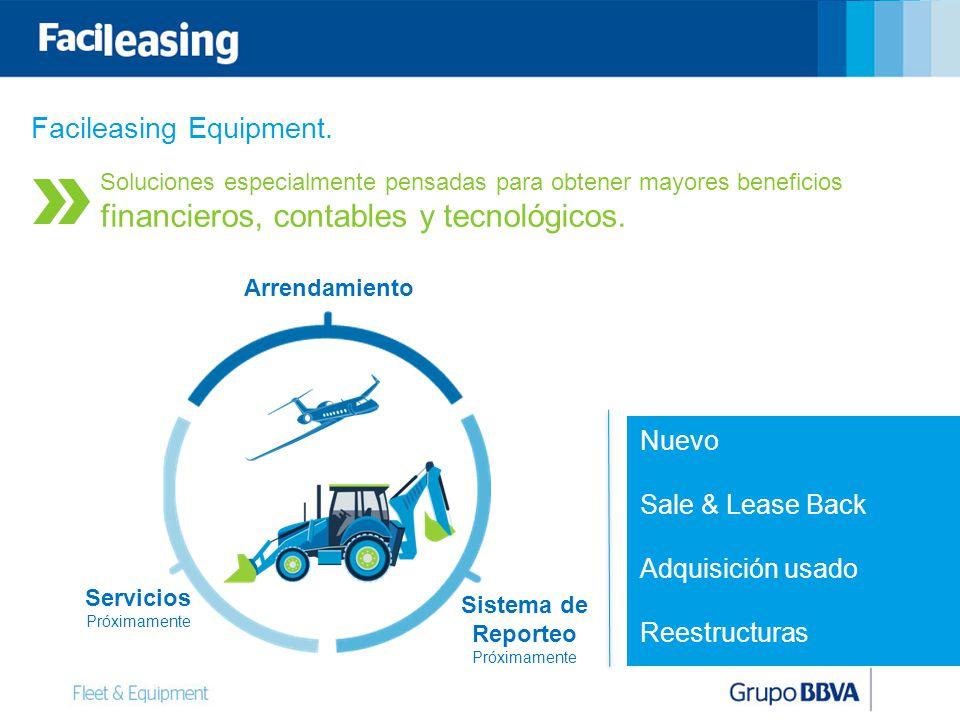 Facileasing Equipment. Nuevo Sale & Lease Back Adquisición usado Reestructuras Arrendamiento Servicios Próximamente Sistema de Reporteo Próximamente S
