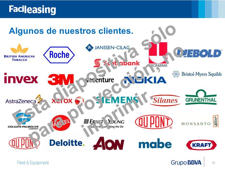 15 Algunos de nuestros clientes. Esta diapositiva sólo para proyección, no imprimir.