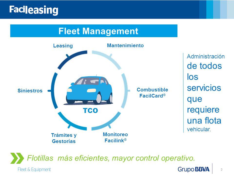 3 Fleet Management Leasing Siniestros Mantenimiento Trámites y Gestorías Combustible FacilCard ® Monitoreo Facilink ® TCO Flotillas más eficientes, mayor control operativo.
