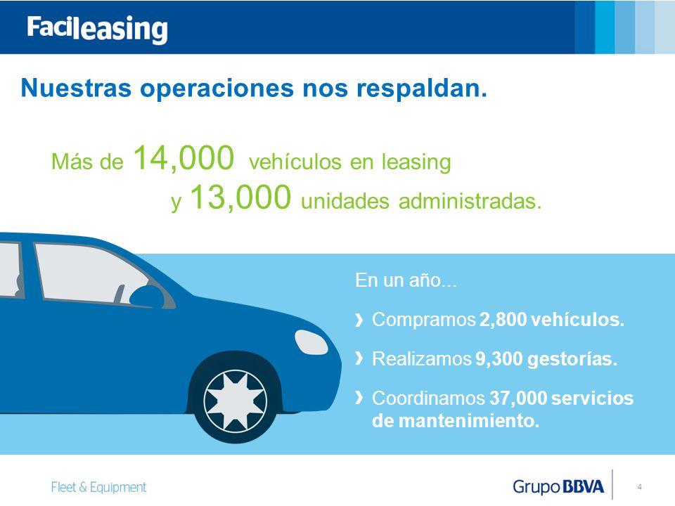 4 y 13,000 unidades administradas.Compramos 2,800 vehículos.