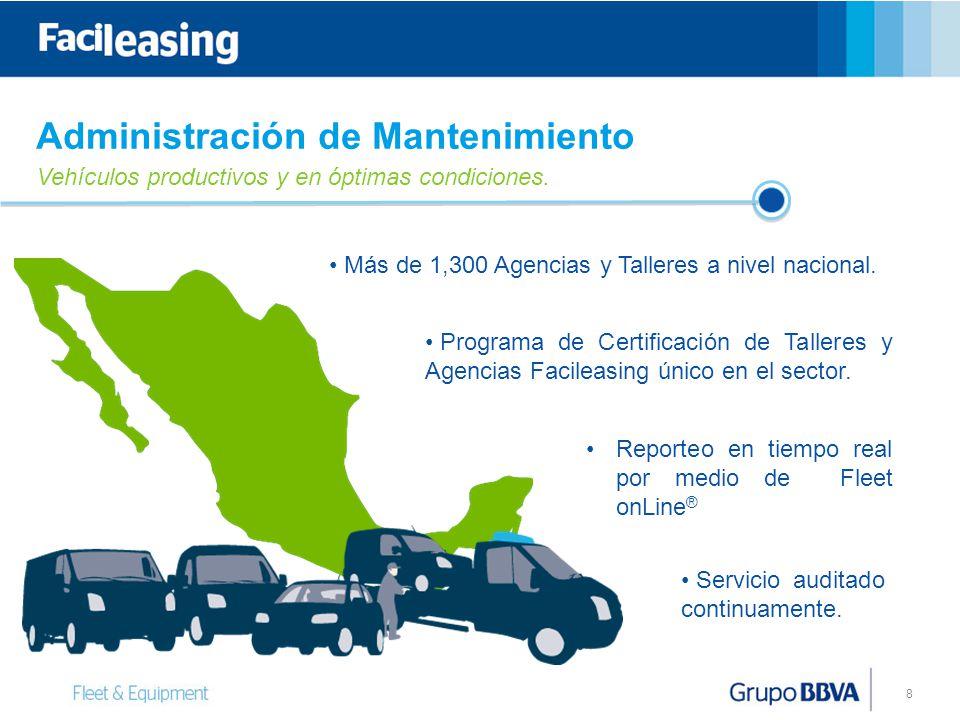 8 Más de 1,300 Agencias y Talleres a nivel nacional.