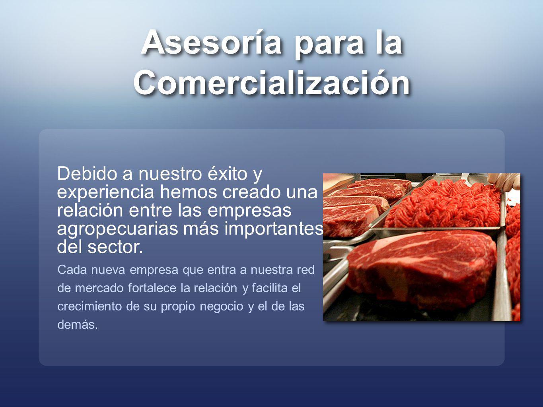 Asesoría para la Comercialización Asesoría para la Comercialización Debido a nuestro éxito y experiencia hemos creado una relación entre las empresas