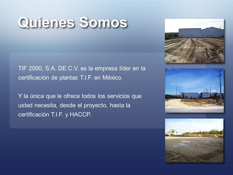 Quienes Somos TIF 2000, S.A. DE C.V. es la empresa líder en la certificación de plantas T.I.F. en México. Y la única que le ofrece todos los servicios