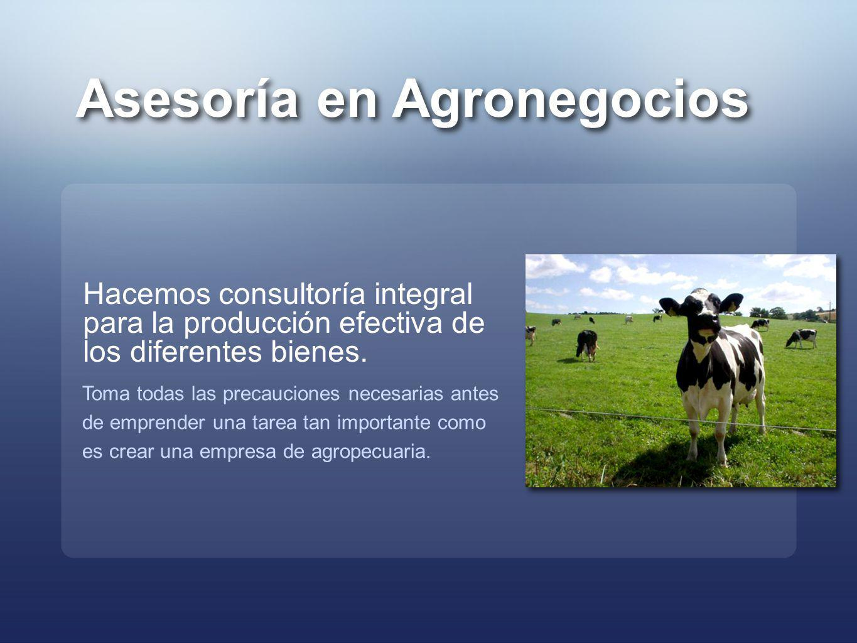 Asesoría en Agronegocios Hacemos consultoría integral para la producción efectiva de los diferentes bienes. Toma todas las precauciones necesarias ant