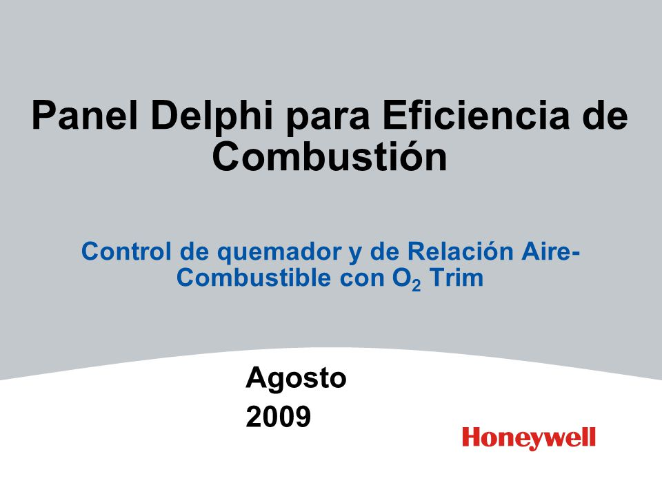 Panel Delphi para Eficiencia de Combustión Control de quemador y de Relación Aire- Combustible con O 2 Trim Agosto 2009