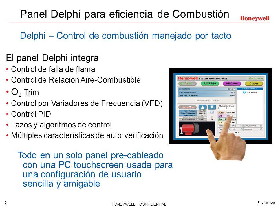 2 HONEYWELL - CONFIDENTIAL File Number Panel Delphi para eficiencia de Combustión Delphi – Control de combustión manejado por tacto El panel Delphi in