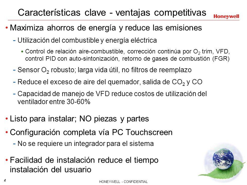 4 HONEYWELL - CONFIDENTIAL File Number Características clave - ventajas competitivas Maximiza ahorros de energía y reduce las emisiones - Utilización