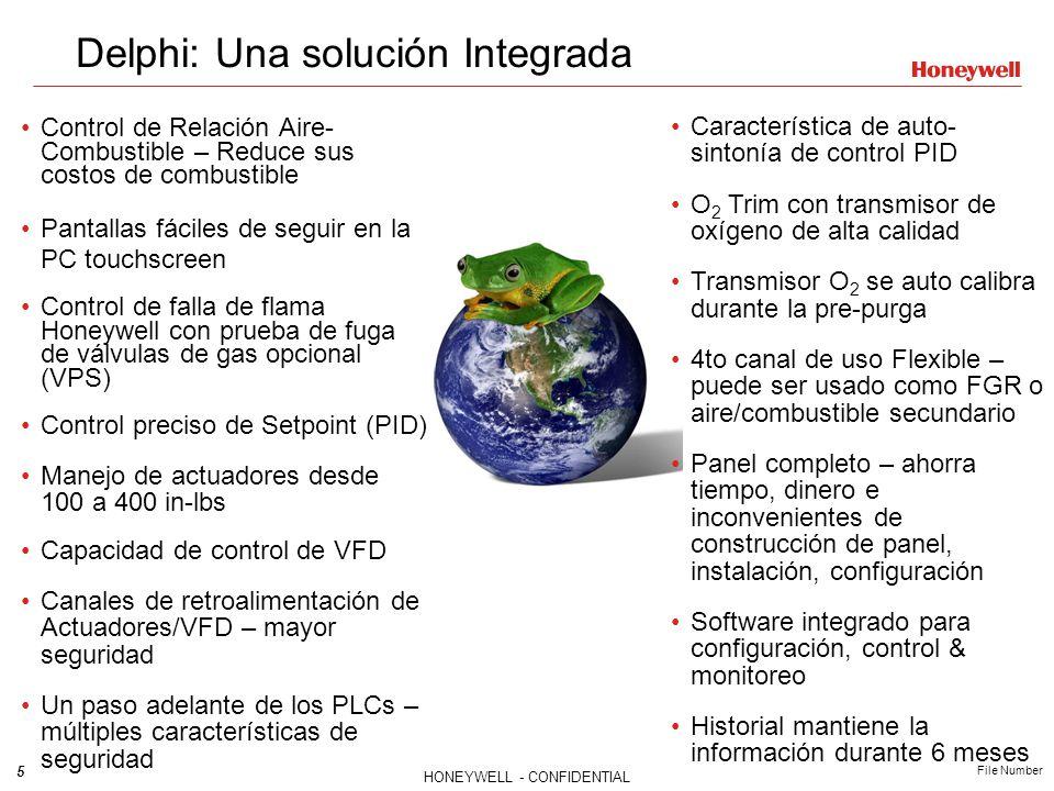 5 HONEYWELL - CONFIDENTIAL File Number Delphi: Una solución Integrada Control de Relación Aire- Combustible – Reduce sus costos de combustible Pantall