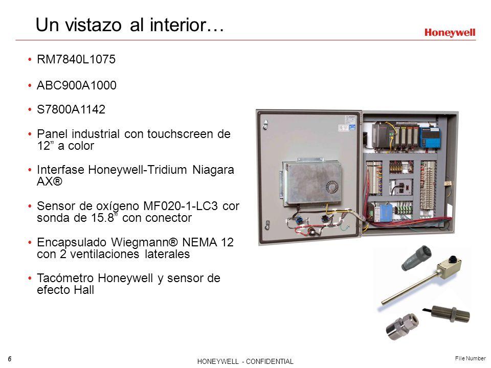 7 HONEYWELL - CONFIDENTIAL File Number Componentes adicionales requeridos: - Amplificador para RM7840L (R78xx) - Tarjeta de purga para RM7840L (ST7800) - Detector de flama - Cable de alimentación - Actuadores – ML7999B o 2001 - Variador de frecuencia NXS (opcional) - Sensores de 4-20mA (temperatura y presión) para Variable de proceso / Modulación / Demanda (puede usarse el P7810C) Temperatura de chimenea (opcional) Otros puntos de monitoreo (opcional) - NOTA: Controles separados son requeridos para las siguientes funciones: limite alto, límite bajo, control de operación, transformador de ignición, presión de combustible y controles de límite de temperatura Componentes adicionales requeridos