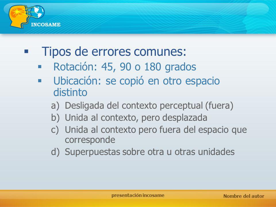 Nombre del autor presentación incosame Tipos de errores comunes: Rotación: 45, 90 o 180 grados Ubicación: se copió en otro espacio distinto a)Desligad