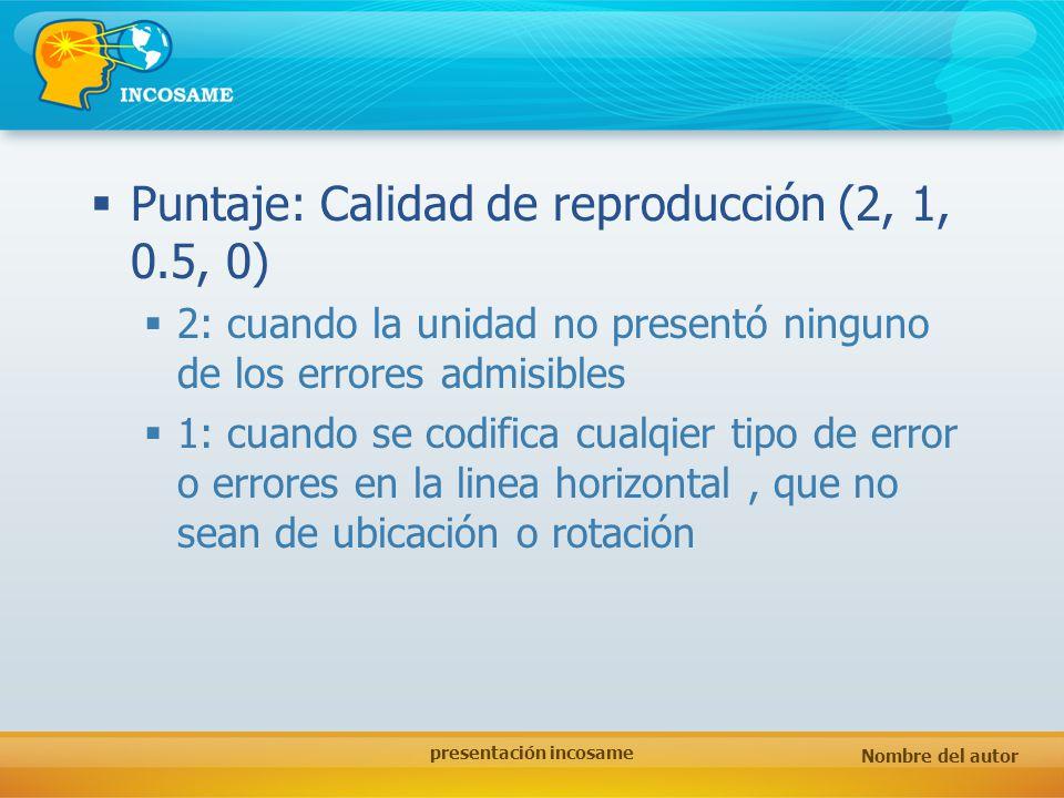 Nombre del autor presentación incosame Puntaje: Calidad de reproducción (2, 1, 0.5, 0) 2: cuando la unidad no presentó ninguno de los errores admisibl