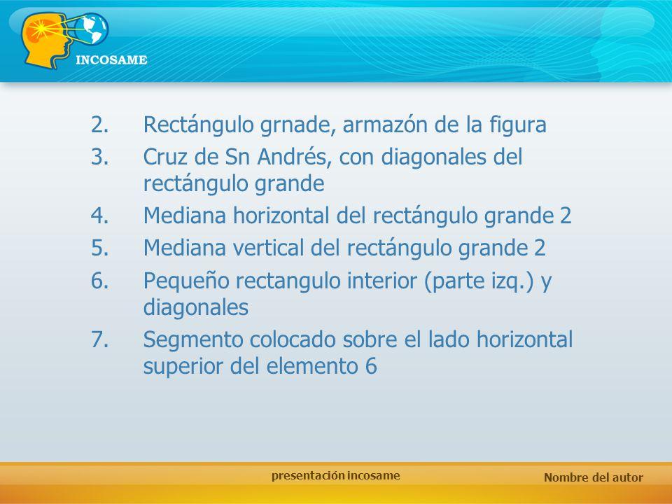 Nombre del autor presentación incosame 2.Rectángulo grnade, armazón de la figura 3.Cruz de Sn Andrés, con diagonales del rectángulo grande 4.Mediana h