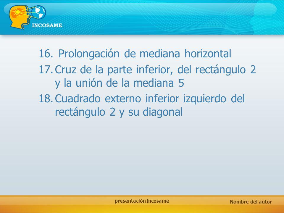 Nombre del autor presentación incosame 16. Prolongación de mediana horizontal 17.Cruz de la parte inferior, del rectángulo 2 y la unión de la mediana