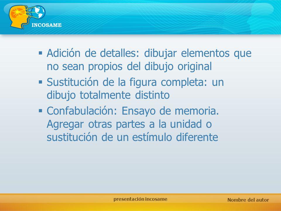 Nombre del autor presentación incosame Adición de detalles: dibujar elementos que no sean propios del dibujo original Sustitución de la figura complet